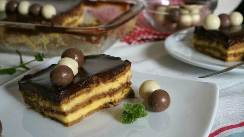 tarta de galletas flan y chocolate